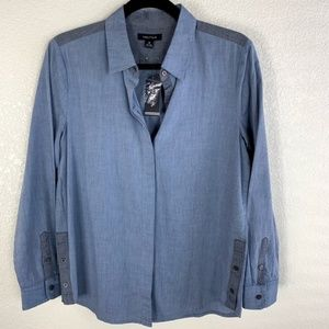 Nautica NWT Chambray Button Front Shirt M